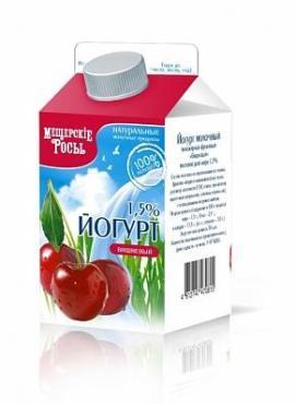 Йогурт 1,5 % вишня Мещерские Росы, 500 гр., тетра-пак