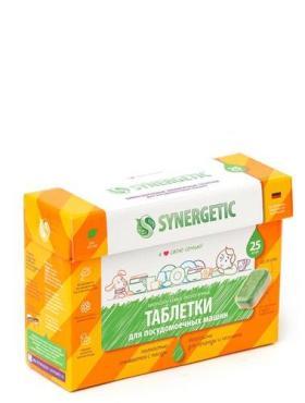 Таблетки бесфосфатные для посудомоечных машин, 25 шт. Synergetic, картонная коробка