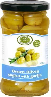 Оливки натуральные зеленые, фаршированные чесноком, Супер Колоссал, KORVEL, 290 гр., стекло