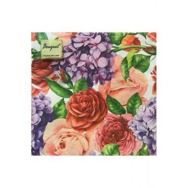 Салфетки 33*33 см.,3-хслойные, 20 шт., Art Bouquet Прекрасные цветы, пластиковый пакет