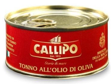 Филе CALLIPO ломтики тунца желтоперого в оливковом масле , 200 гр, ж/б