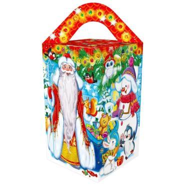 Новогодний подарок Четырехгранка большая Дедушка Мороз Красный Октябрь 700 гр., картонная коробка