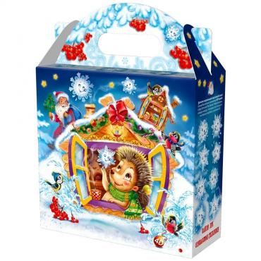 Новогодний подарок Снежинка большая снежинки ежинки Красный Октябрь 1 кг., картонная коробка