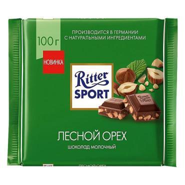 Шоколад молочный дробленый Лесной орех, , Ritter Sport, 100 гр., флоу-пак