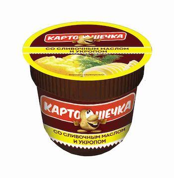 Пюре картофельное быстрого приготовления со сливками и укропом Картошечка, 38 гр., пластиковый стакан