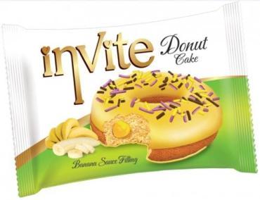 Пончик банановая начинка Invite Donut Banana, 40 гр., флоу-пак