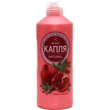 Средство моющее жидкое для посуды гранат и розмарин Весна Капля Natural, 500 гр., пластиковая бутылка