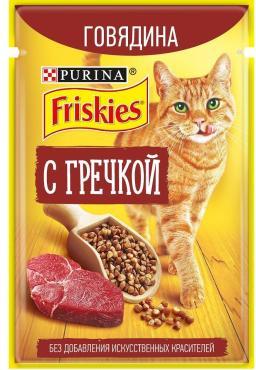 Консервы для кошек говядина с гречкой Friskies, 85 гр., дой-пак