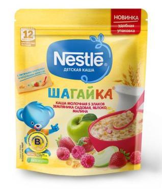 Каша молочная земляника, яблоко, малина, Nestlé Детская каша, 200 гр., дой-пак