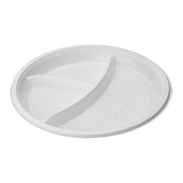 Тарелка 3-секц., d=210 мм., бел., ПС, 12 шт., Мистерия, пластиковый пакет