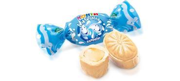 Конфеты карамель молочная с начинкой Konti, 1 кг., пластиковый пакет