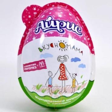 Кукурузные шарики в глазури Вкусномама Яйцо Айрис, 15 гр., пластиковая упаковка