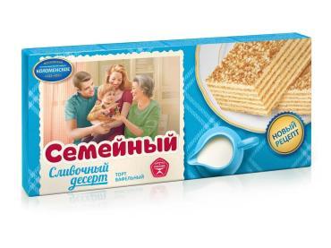 Торт семейный сливочный десерт, Семейный, 230 гр., картон