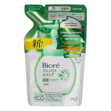 Мусс очищающий для умывания против акне, запасной блок, Biore, 130 мл, пластиковый пакет
