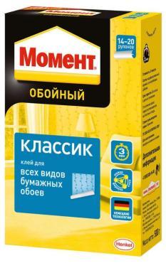 Клей обойный для всех видов бумажных обоев Момент Классик, 500 гр., картон