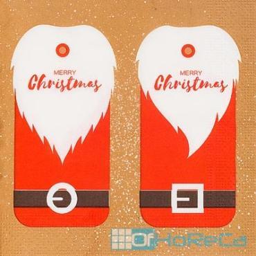 Салфетка бумажная 33х33 см., 3-слойная, 20 шт./уп., PapStar Рождественский мотив, пластиковый пакет
