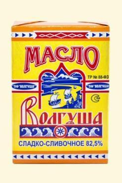 Масло сладко-сливочное 82,5% Волгуша Традиционное, 450 гр., обертка фольга/бумага