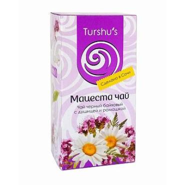 Чай с ромашкой и душицей, черный листовой с добавками, 20 пакетиков Мацеста, 40 гр., картон