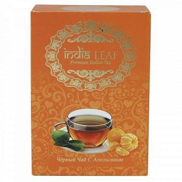 Чай с апельсином, черный среднелистовой с добавками India leaf, 100 гр., картон