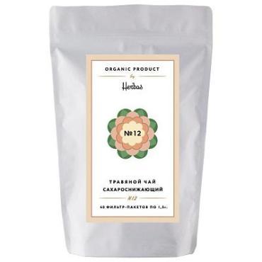 Чай сахароснижающий, травяной, 40 пакетиков Herbas №12, 60 гр., дой-пак