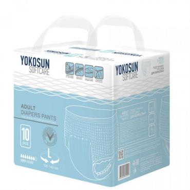 Подгузники-трусики для взрослых , размер L, 10 шт., YokoSun, 800 гр., полибэг