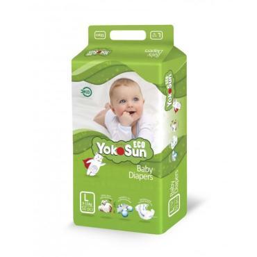 Детские подгузники ECO размер L (9-14 кг) 50 шт, YokoSun, 1.74 кг., полибэг