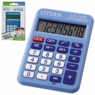 Калькулятор карманный, малый 89х59 мм., 8 разрядов, двойное питание, синий Citizen LC-110NRBL, 65 гр., картон