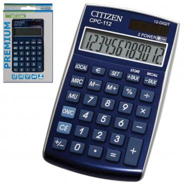 Калькулятор карманный, 12 разрядов, двойное питание, 120х72 мм., синий Citizen CPC-112BLWB, 92 гр., картон