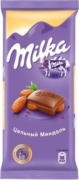 Шоколад молочный с цельным миндалем , Milka, 85 гр., флоу-пак