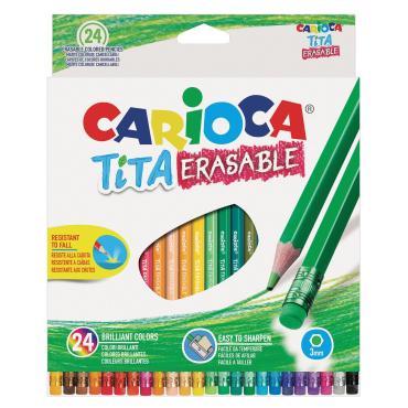 Карандаши цветные пластиковые стираемые, 24 цвета, Carioca Tita Erasable, картон