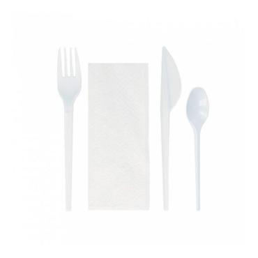 Комплект №4 ложка столовая, вилка, нож, салфетка белый