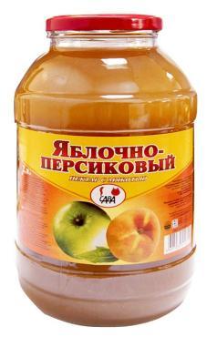 Нектар яблочно-персиковый САВА, 2 л., стекло