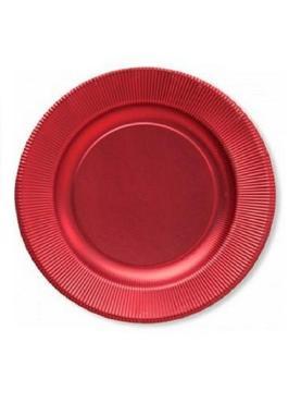 Тарелка одноразовая бумажная Extra Party Line Satin red d=21 см., 8 штук