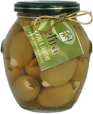 Оливки Elita фаршированные миндалем и халапенью, 395 мл., стекло