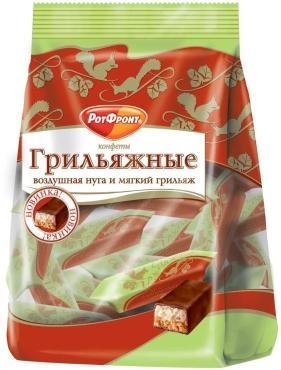 Конфеты Красный Октябрь Грильяжные с воздушной нугой и мягким грильяжем, 200 гр., пластиковый пакет