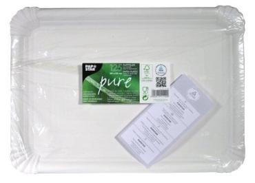 Поднос картонный PapStar, сервировочный 260х180 мм., прямоугольный белый, 22 гр., пластиковый пакет