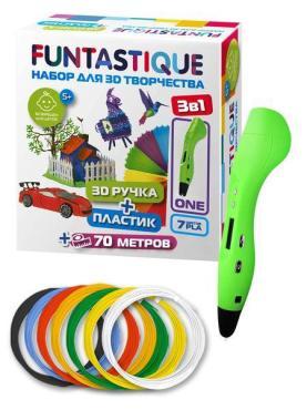 Набор 3D-ручка FUNTASTIQUE ONE (Зеленый) PLA-пластик 7 цветов, 670 гр., картон