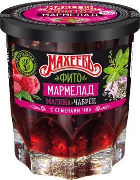 Фито-мармелад МАХЕЕВЪ Малина чабрец с семенами чиа, 230 гр., стекло