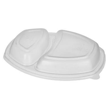 Крышка Кадо Прим, одноразовая к контейнеру, 920(530+390) мл., прямоугольная, 262х182х20 мм., 2-секционный, прозрачная, ПП, 250 шт., пластиковая упаковка