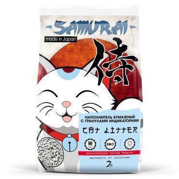 Наполнитель Самурай для кошачьего туалета, бумажный, с гранулами индикаторами, 7 л., ПЭТ