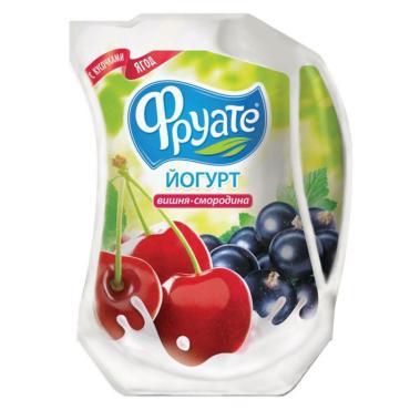 Йогурт Вишня-Черная смородина 1,5% Фруате, 950 гр., дой-пак