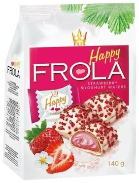 Конфеты Flis Happy Frola вафельные с клубникой и йогуртовым кремом