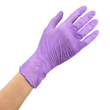 Перчатки нитриловые, неопудренные, текстурированные, сиреневые, M