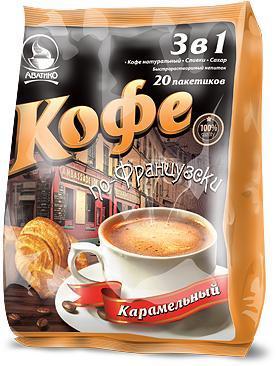 Кофе Avatico По-французски, карамельный, растворимый 3в1,  16 гр, 20 сашетов