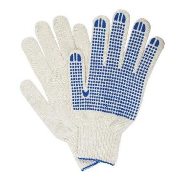 Перчатки хлопчатобумажные Лайма 7 класс ПВХ точка белые 5 пар