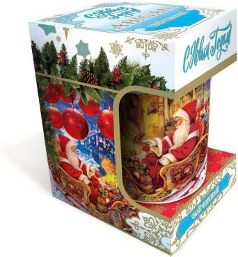 Чай листовой черный с кружкой Abigail Дед Мороз на санях, 50 гр., подарочная упаковка