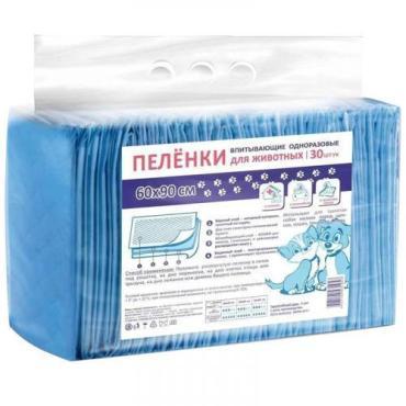 Пеленка впитывающая одноразовая для животных, 60 х 90 см, 30 шт., Medmil 1345 гр., Пластиковый пакет