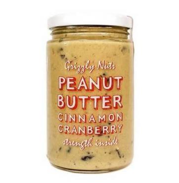 Арахисовая паста с вяленой клюквой Grizzly Nuts Cinnamon Cranberry, 370 гр., стекло