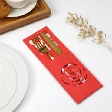 Конверт для столовых приборов Доляна Роза 9 х 25 см 100% п/э фетр розовый