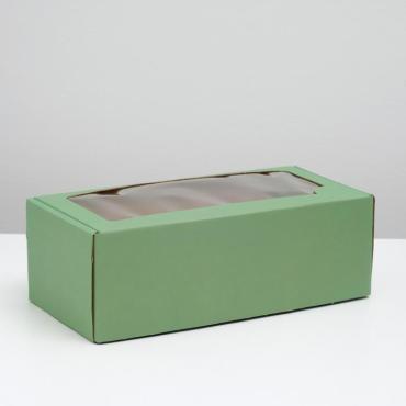 Коробка самосборная, с окном, мятная, 16 х 35 х 12 см., Россия